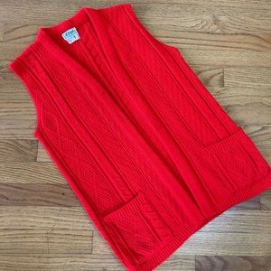 Vintage 70s Knit Tomato Red Sweater Vest M